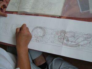 彫刻工程 図案書き